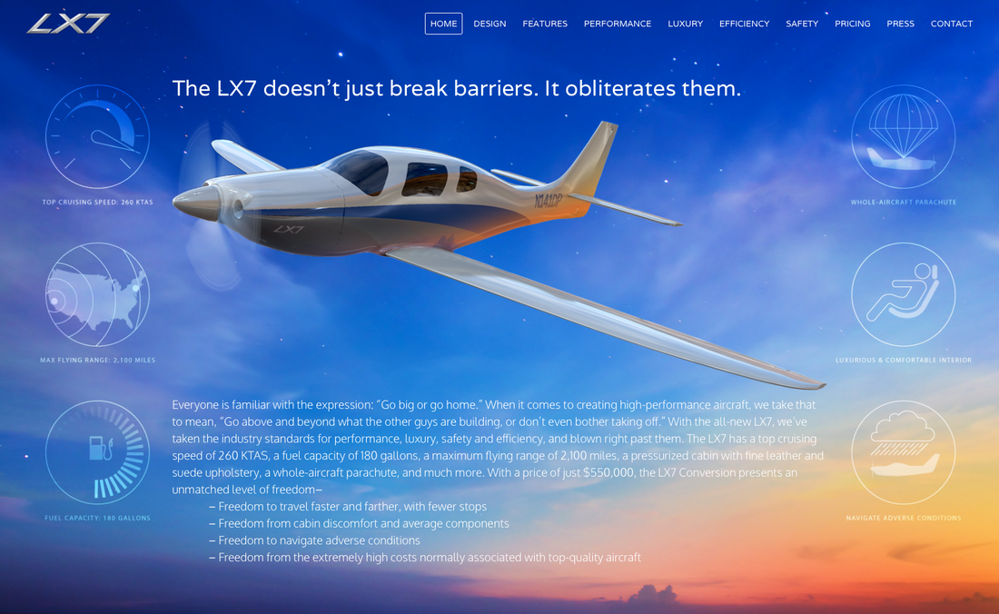 LX7 Aircraft Website Design