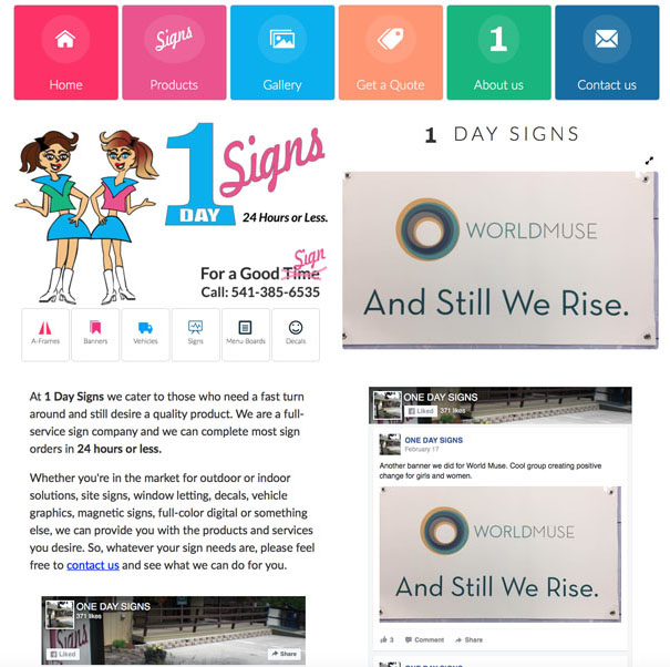 Old 1-Day Signs Website Design